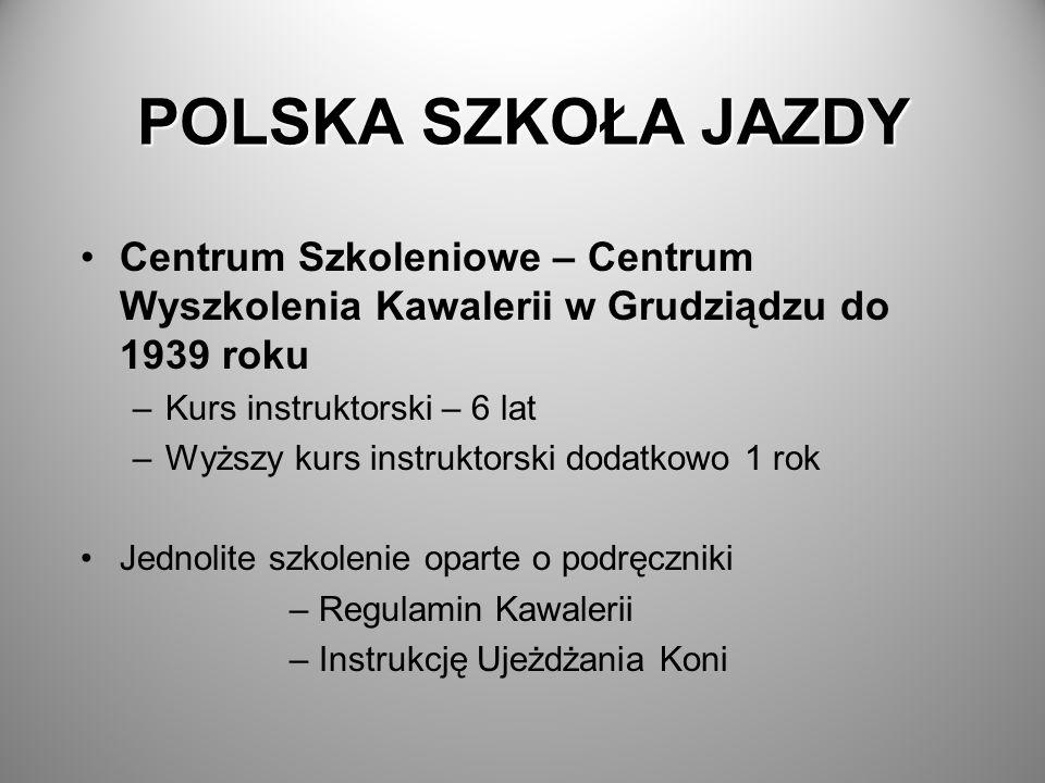 POLSKA SZKOŁA JAZDY Centrum Szkoleniowe – Centrum Wyszkolenia Kawalerii w Grudziądzu do 1939 roku –Kurs instruktorski – 6 lat –Wyższy kurs instruktors