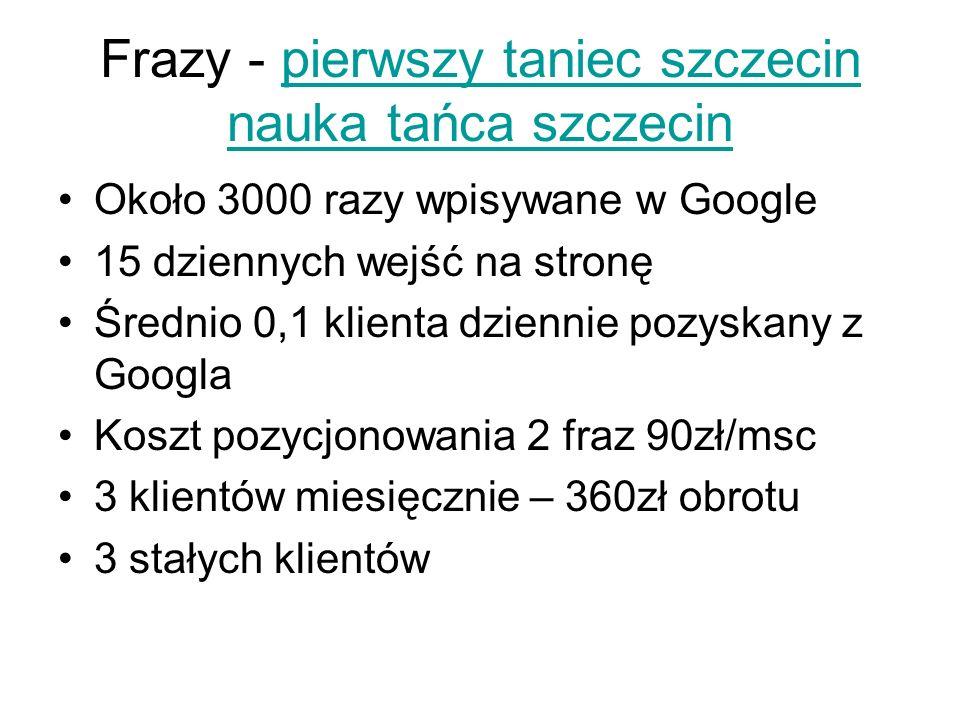 Frazy - pierwszy taniec szczecin nauka tańca szczecinpierwszy taniec szczecin nauka tańca szczecin Około 3000 razy wpisywane w Google 15 dziennych wej