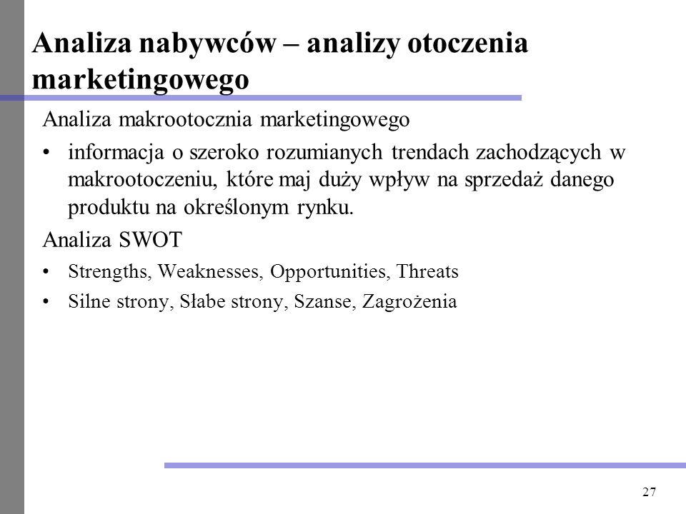 27 Analiza nabywców – analizy otoczenia marketingowego Analiza makrootocznia marketingowego informacja o szeroko rozumianych trendach zachodzących w m