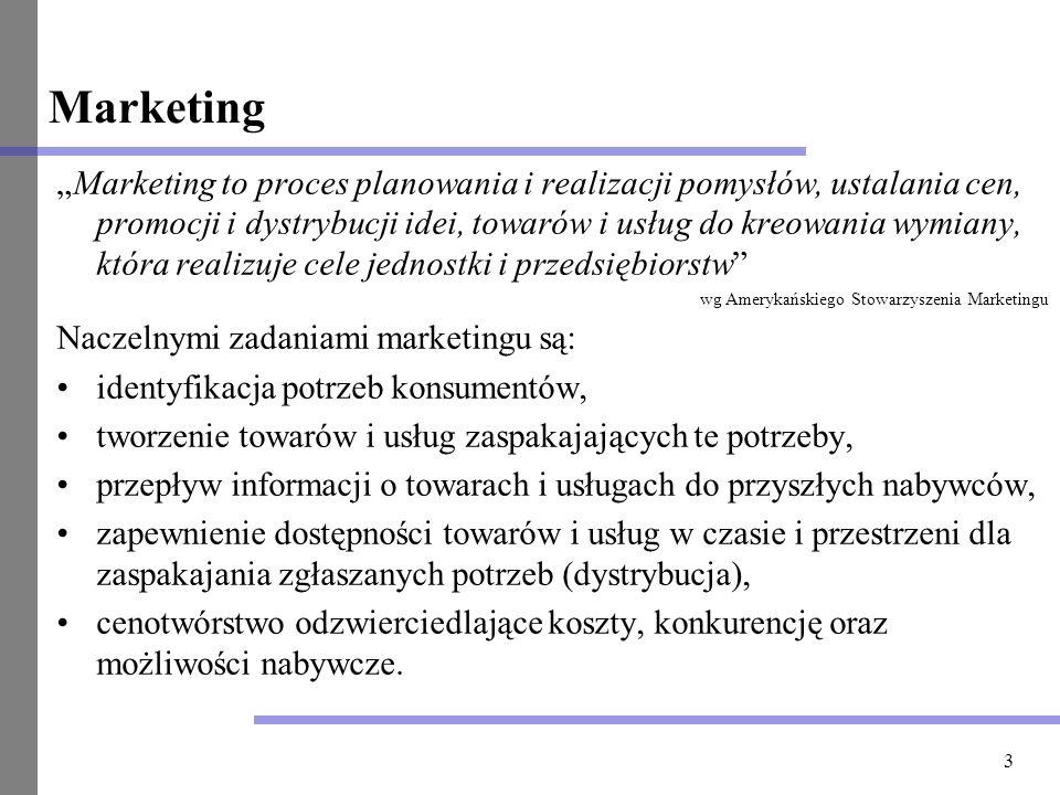 3 Marketing Marketing to proces planowania i realizacji pomysłów, ustalania cen, promocji i dystrybucji idei, towarów i usług do kreowania wymiany, kt