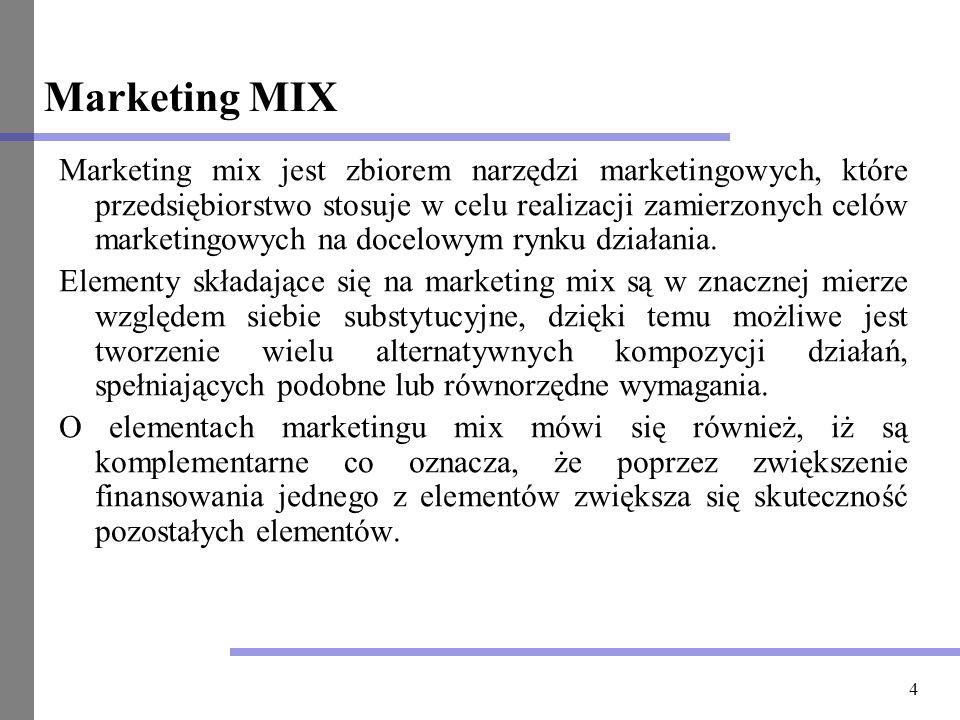 4 Marketing MIX Marketing mix jest zbiorem narzędzi marketingowych, które przedsiębiorstwo stosuje w celu realizacji zamierzonych celów marketingowych