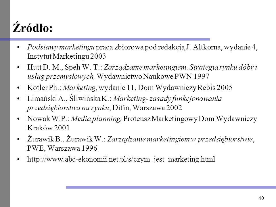 40 Źródło: Podstawy marketingu praca zbiorowa pod redakcją J. Altkorna, wydanie 4, Instytut Marketingu 2003 Hutt D. M., Speh W. T.: Zarządzanie market