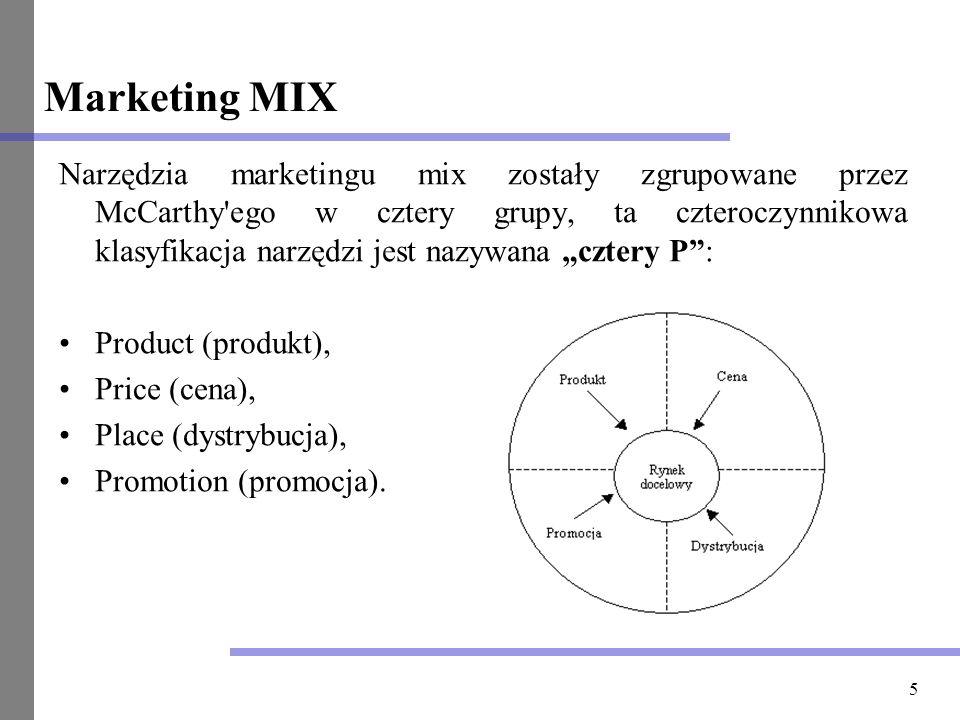 5 Marketing MIX Narzędzia marketingu mix zostały zgrupowane przez McCarthy'ego w cztery grupy, ta czteroczynnikowa klasyfikacja narzędzi jest nazywana