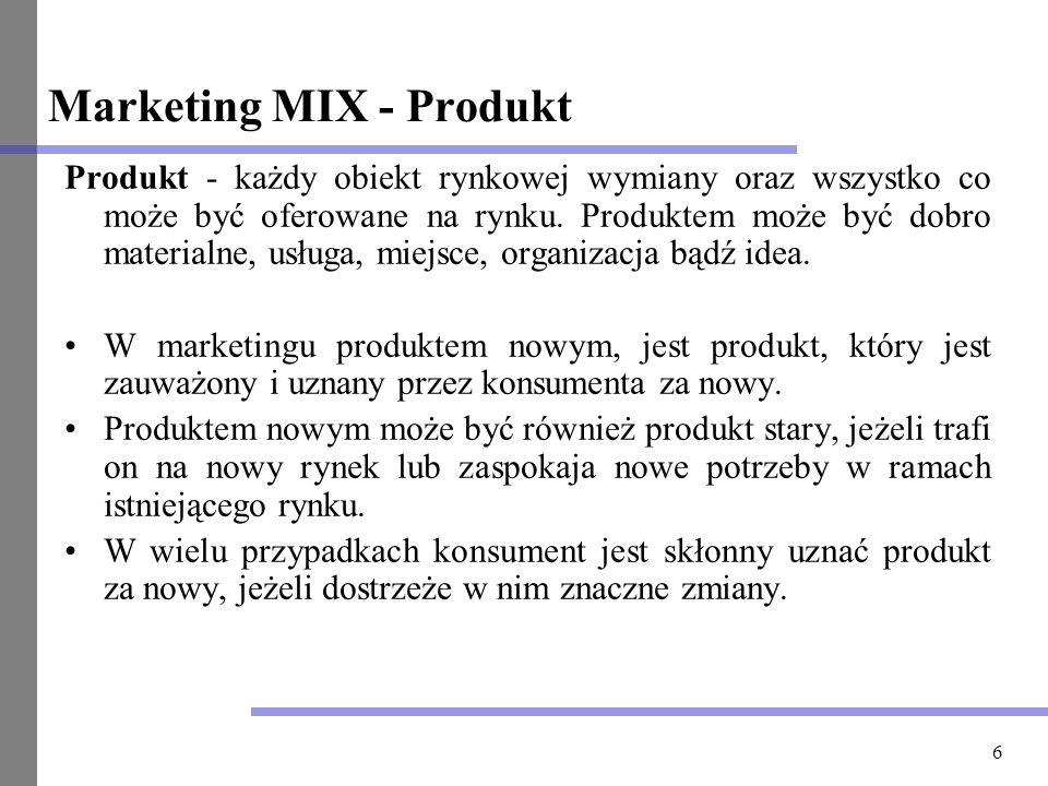 6 Marketing MIX - Produkt Produkt - każdy obiekt rynkowej wymiany oraz wszystko co może być oferowane na rynku. Produktem może być dobro materialne, u