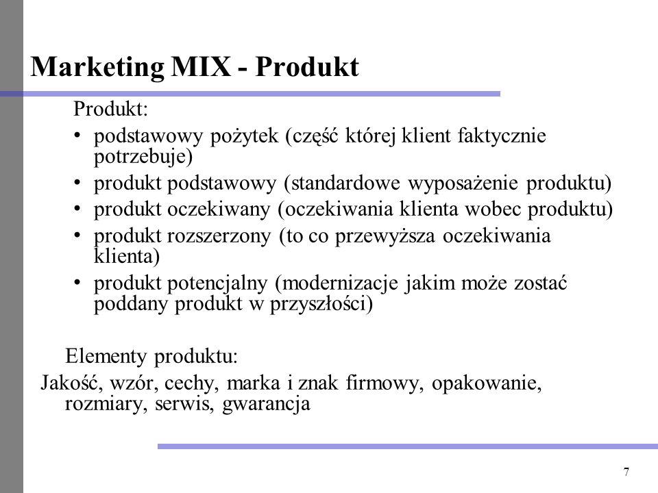 7 Marketing MIX - Produkt Produkt: podstawowy pożytek (część której klient faktycznie potrzebuje) produkt podstawowy (standardowe wyposażenie produktu