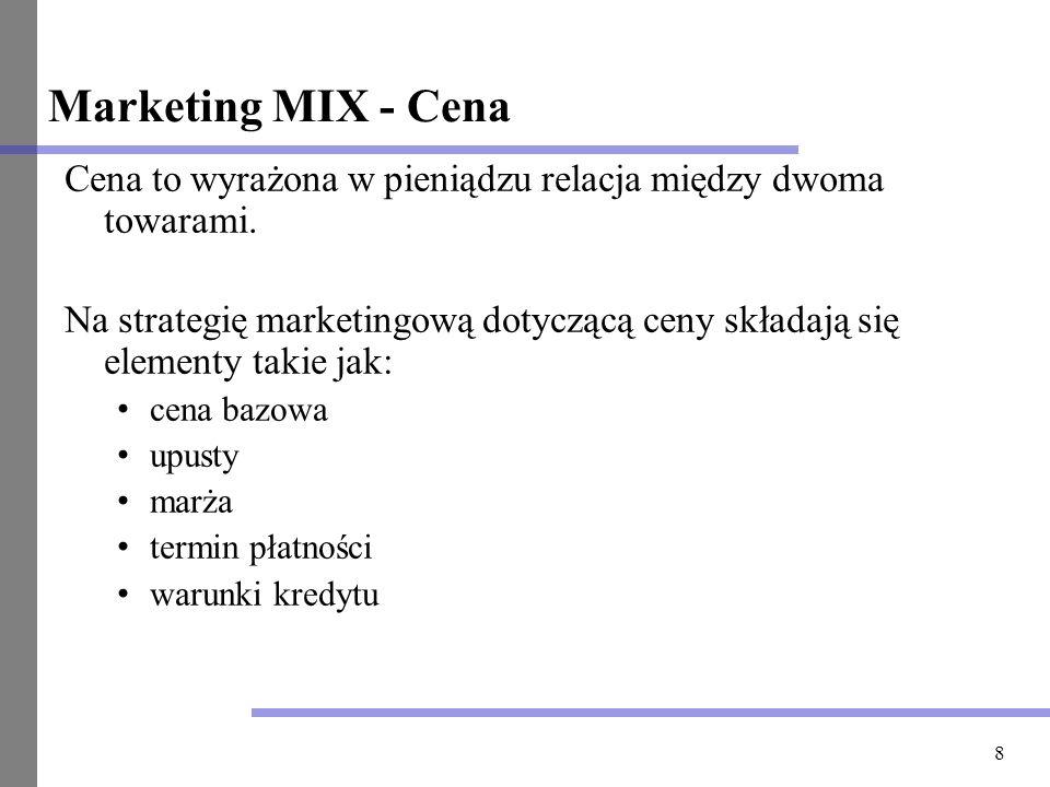8 Marketing MIX - Cena Cena to wyrażona w pieniądzu relacja między dwoma towarami. Na strategię marketingową dotyczącą ceny składają się elementy taki
