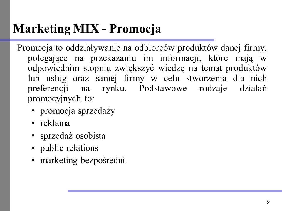 9 Marketing MIX - Promocja Promocja to oddziaływanie na odbiorców produktów danej firmy, polegające na przekazaniu im informacji, które mają w odpowie