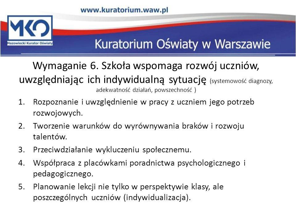 Wymaganie 6. Szkoła wspomaga rozwój uczniów, uwzględniając ich indywidualną sytuację (systemowość diagnozy, adekwatność działań, powszechność ) 1.Rozp