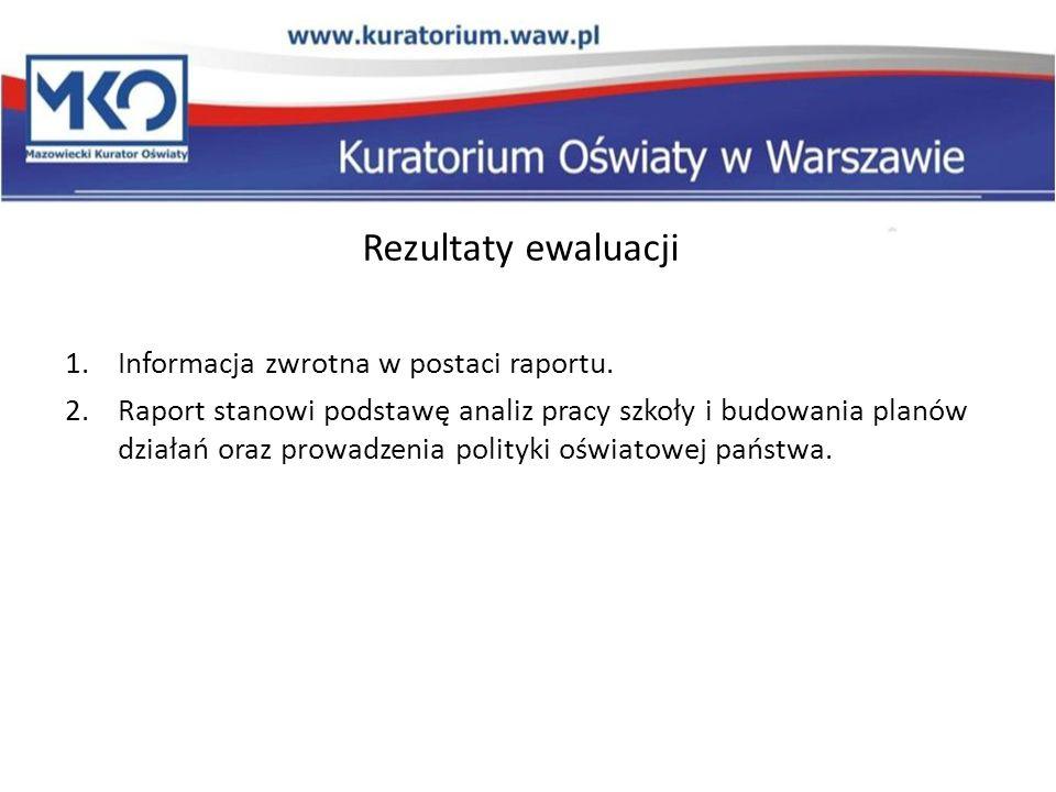 Rezultaty ewaluacji 1.Informacja zwrotna w postaci raportu. 2.Raport stanowi podstawę analiz pracy szkoły i budowania planów działań oraz prowadzenia