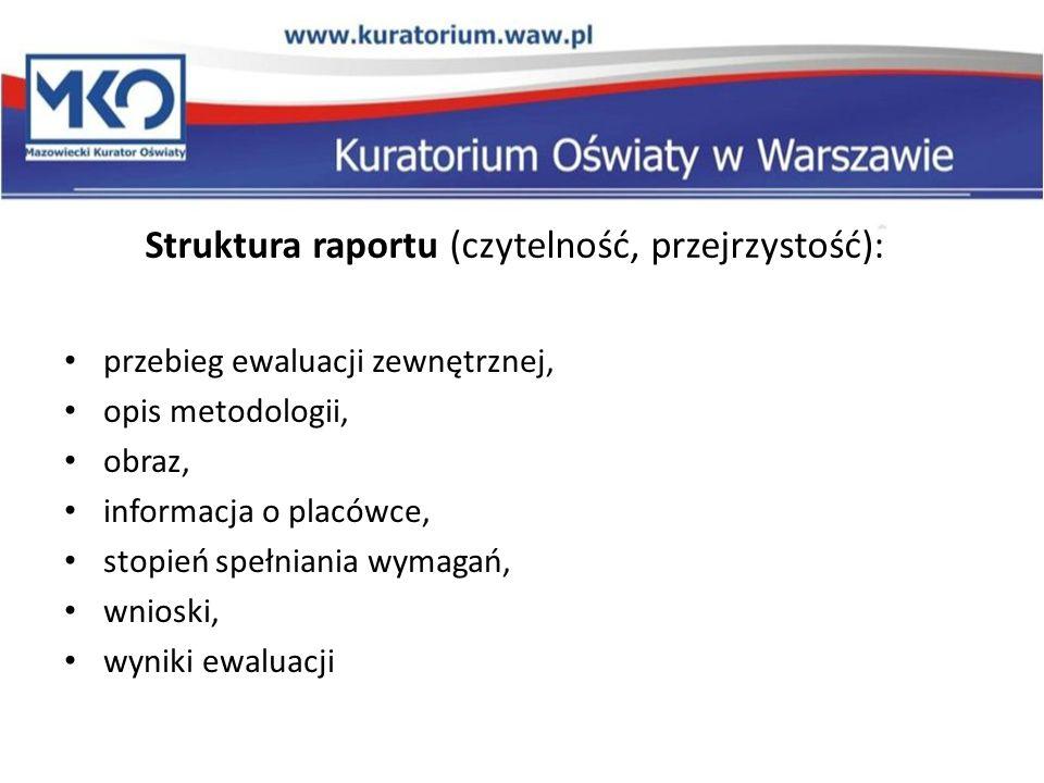 Struktura raportu (czytelność, przejrzystość): przebieg ewaluacji zewnętrznej, opis metodologii, obraz, informacja o placówce, stopień spełniania wyma