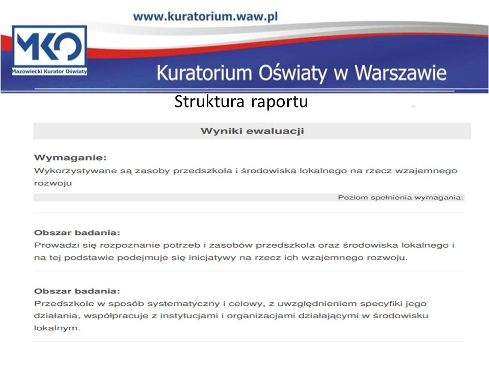 Struktura raportu