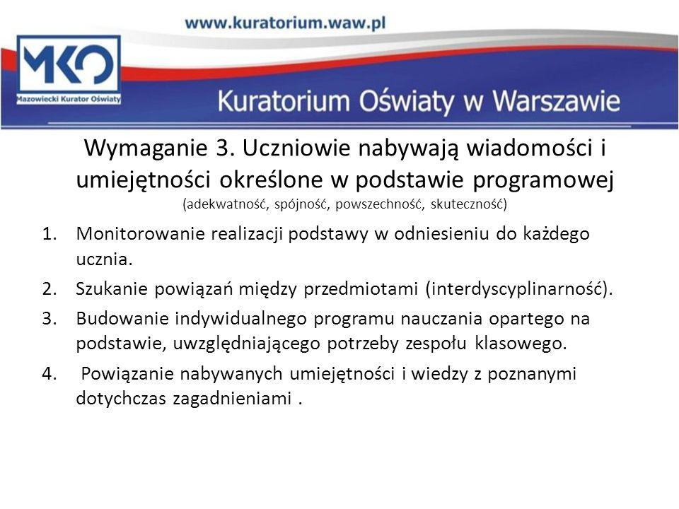 Wymaganie 3. Uczniowie nabywają wiadomości i umiejętności określone w podstawie programowej (adekwatność, spójność, powszechność, skuteczność) 1.Monit