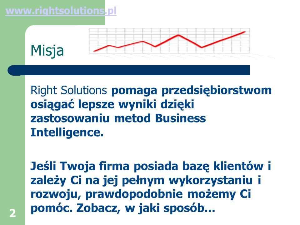 2 Misja Right Solutions pomaga przedsiębiorstwom osiągać lepsze wyniki dzięki zastosowaniu metod Business Intelligence.