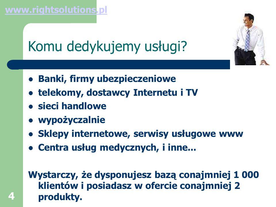 5 Usługi – system raportowania definicja wymagań raportowych konstrukcja modelu biznesowego firmy stworzenie specyfikacji analitycznej bazy danych stworzenie dynamicznych raportów i dashboar ów transfer wiedzy do analityków www.rightsolutions.pl