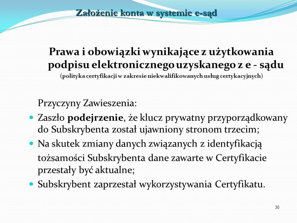 30 Prawa i obowiązki wynikające z użytkowania podpisu elektronicznego uzyskanego z e - sądu (polityka certyfikacji w zakresie niekwalifikowanych usług