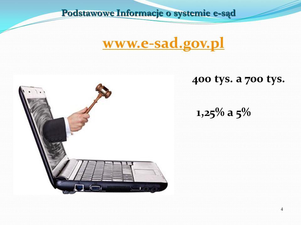 4 www.e-sad.gov.pl 400 tys. a 700 tys. 1,25% a 5% Podstawowe Informacje o systemie e-sąd