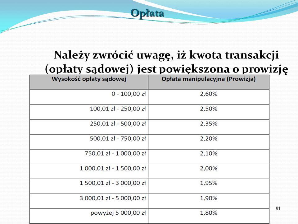 81 Należy zwrócić uwagę, iż kwota transakcji (opłaty sądowej) jest powiększona o prowizję operatora.Opłata
