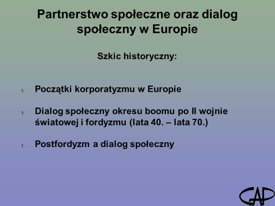 Partnerstwo społeczne oraz dialog społeczny w Europie 3 Szkic historyczny: 1. Początki korporatyzmu w Europie 1. Dialog społeczny okresu boomu po II w