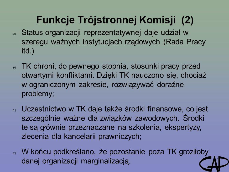 Funkcje Trójstronnej Komisji (2) 6 e) Status organizacji reprezentatywnej daje udział w szeregu ważnych instytucjach rządowych (Rada Pracy itd.) e) TK