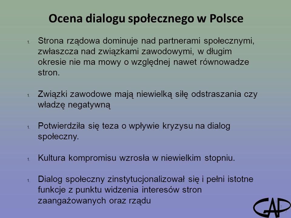 Ocena dialogu społecznego w Polsce 7 1. Strona rządowa dominuje nad partnerami społecznymi, zwłaszcza nad związkami zawodowymi, w długim okresie nie m