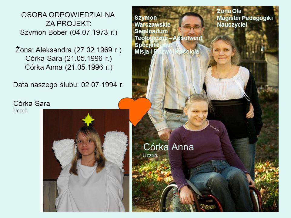 OSOBA ODPOWIEDZIALNA ZA PROJEKT: Szymon Bober (04.07.1973 r.) Żona: Aleksandra (27.02.1969 r.) Córka Sara (21.05.1996 r.) Córka Anna (21.05.1996 r.) D
