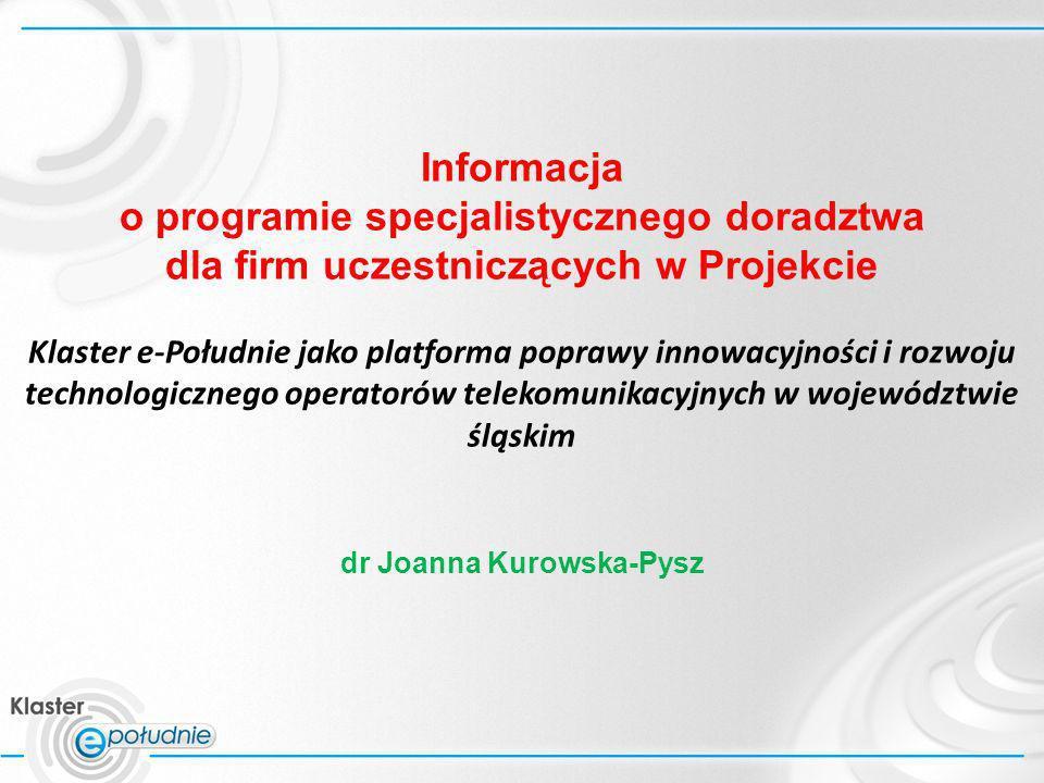Informacja o programie specjalistycznego doradztwa dla firm uczestniczących w Projekcie Klaster e-Południe jako platforma poprawy innowacyjności i roz
