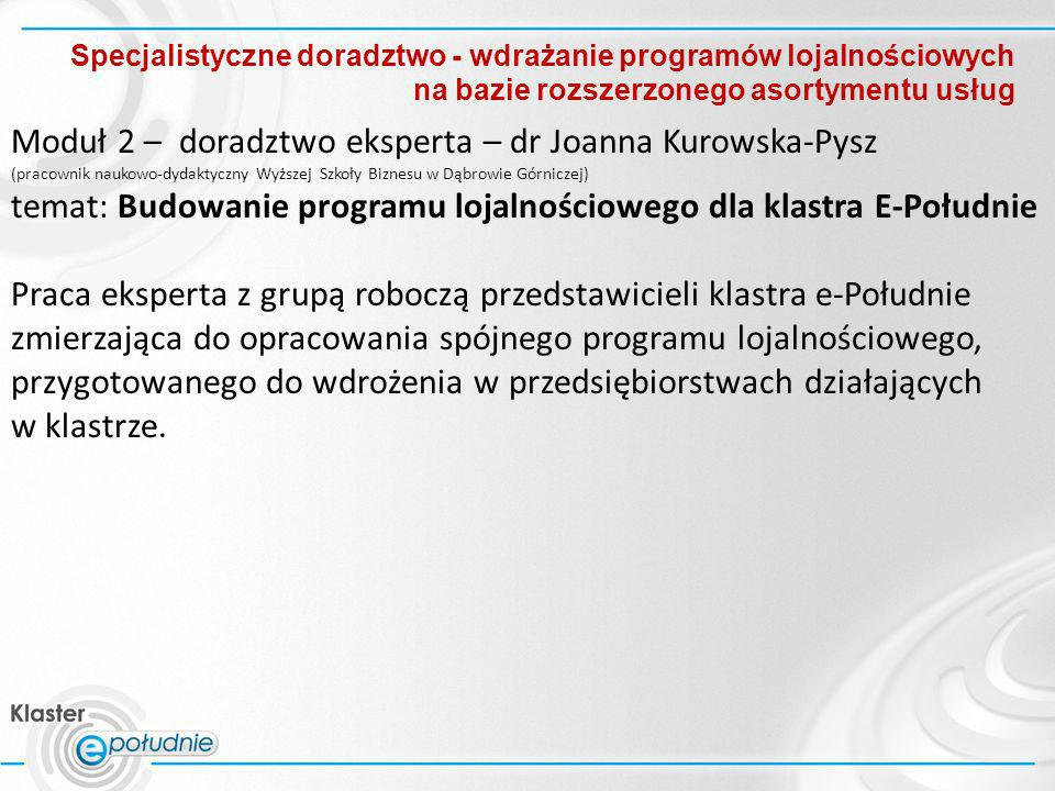 Specjalistyczne doradztwo - wdrażanie programów lojalnościowych na bazie rozszerzonego asortymentu usług Moduł 2 – doradztwo eksperta – dr Joanna Kuro