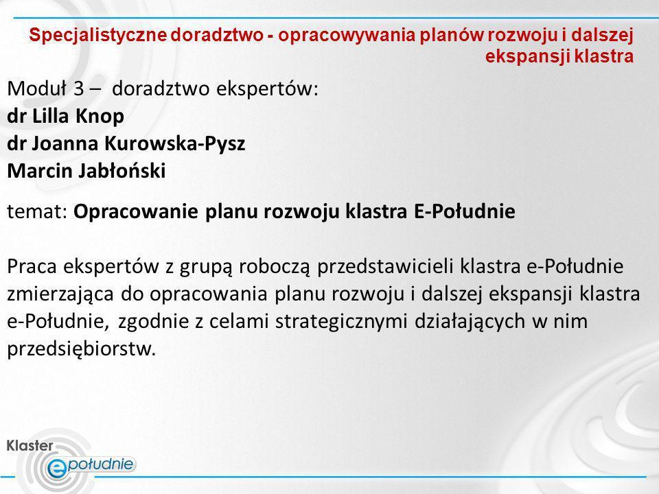 Specjalistyczne doradztwo - opracowywania planów rozwoju i dalszej ekspansji klastra Moduł 3 – doradztwo ekspertów: dr Lilla Knop dr Joanna Kurowska-P