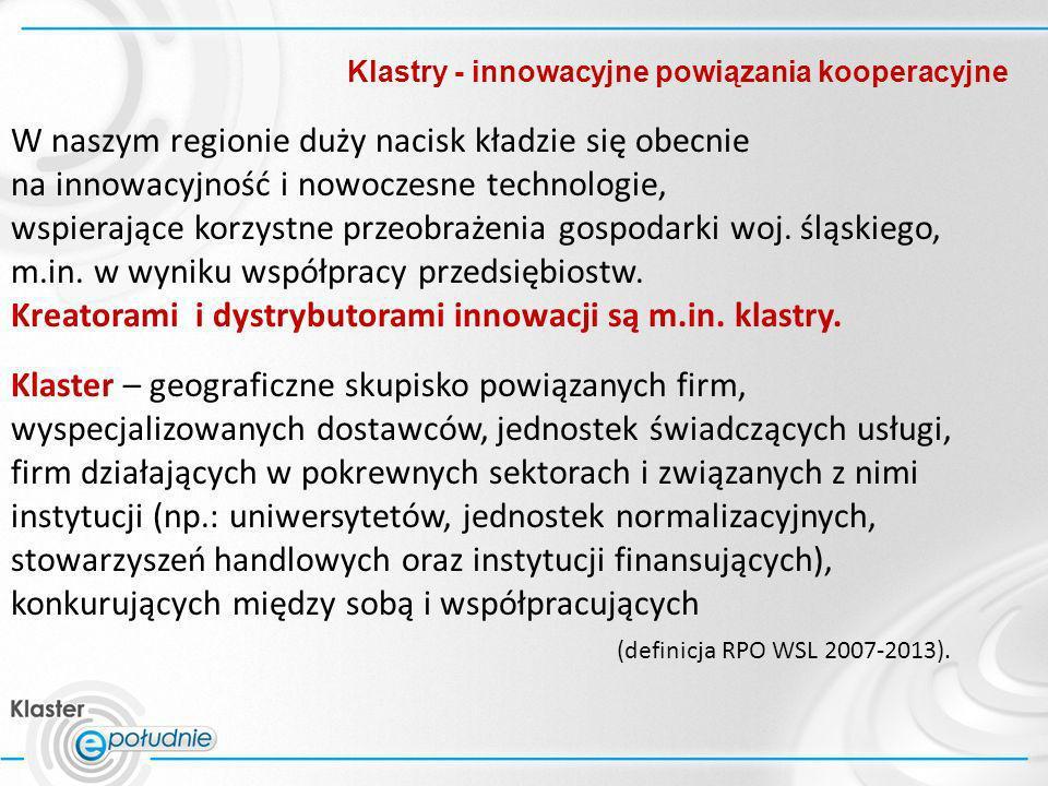 Klastry - innowacyjne powiązania kooperacyjne W naszym regionie duży nacisk kładzie się obecnie na innowacyjność i nowoczesne technologie, wspierające