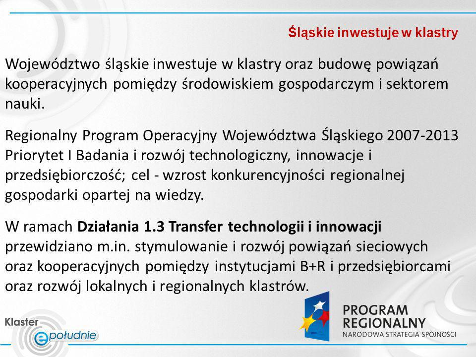 Śląskie inwestuje w klastry Województwo śląskie inwestuje w klastry oraz budowę powiązań kooperacyjnych pomiędzy środowiskiem gospodarczym i sektorem
