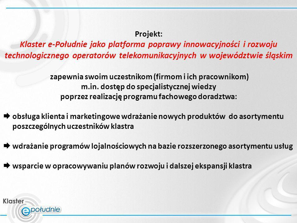 Projekt: Klaster e-Południe jako platforma poprawy innowacyjności i rozwoju technologicznego operatorów telekomunikacyjnych w województwie śląskim zap