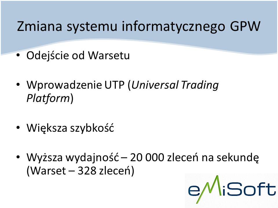 Zmiana systemu informatycznego GPW Odejście od Warsetu Wprowadzenie UTP (Universal Trading Platform) Większa szybkość Wyższa wydajność – 20 000 zleceń