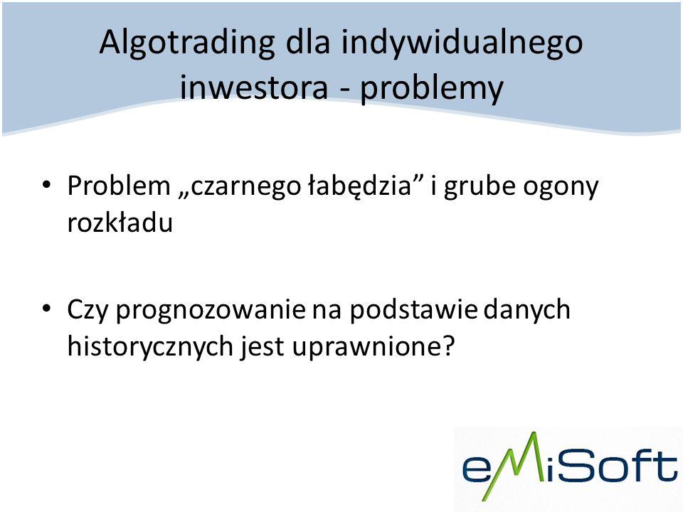 Algotrading dla indywidualnego inwestora - problemy Problem czarnego łabędzia i grube ogony rozkładu Czy prognozowanie na podstawie danych historyczny