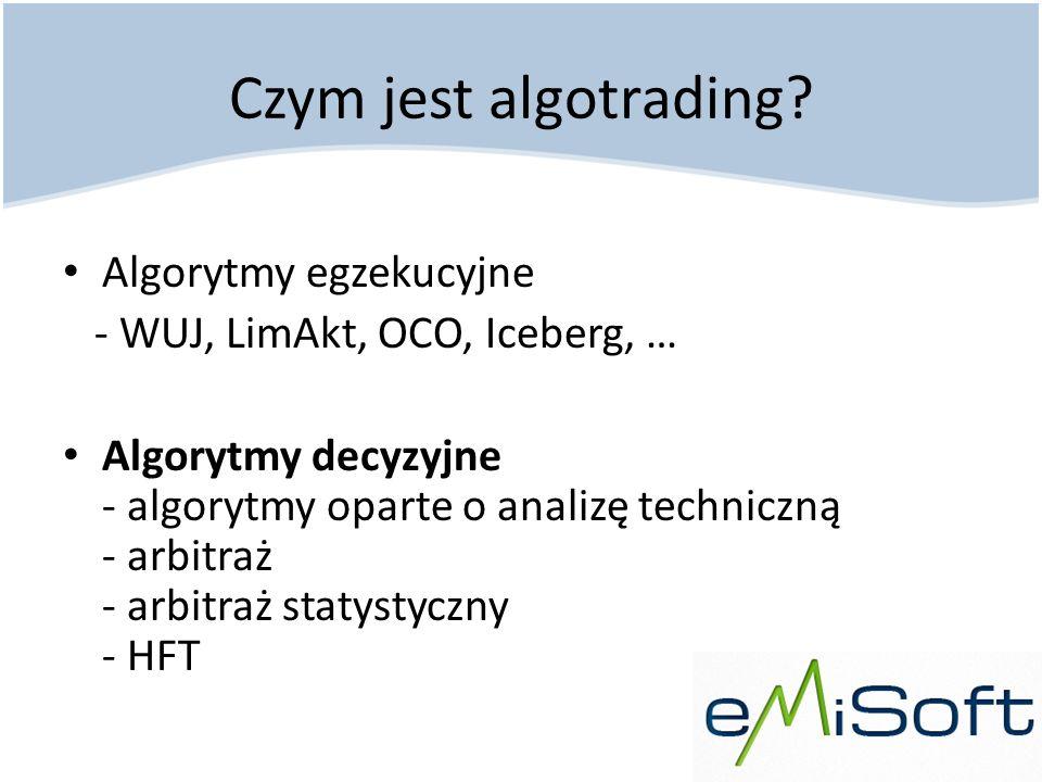 Czym jest algotrading? Algorytmy egzekucyjne - WUJ, LimAkt, OCO, Iceberg, … Algorytmy decyzyjne - algorytmy oparte o analizę techniczną - arbitraż - a