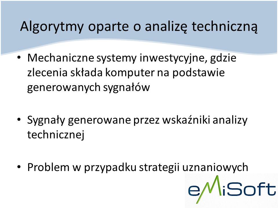 Algorytmy oparte o analizę techniczną Mechaniczne systemy inwestycyjne, gdzie zlecenia składa komputer na podstawie generowanych sygnałów Sygnały gene