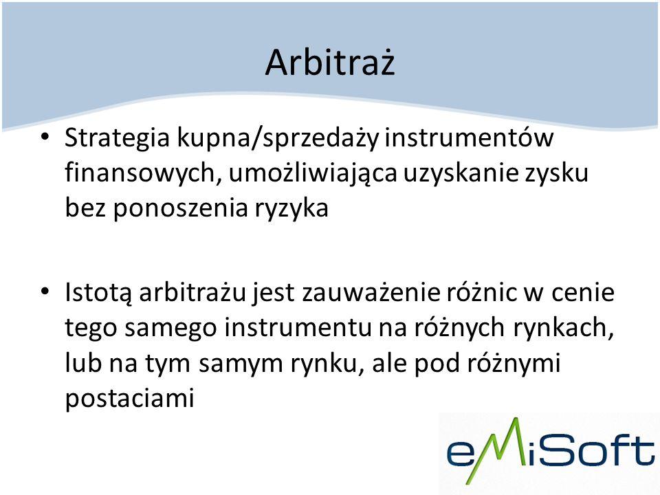 Arbitraż Strategia kupna/sprzedaży instrumentów finansowych, umożliwiająca uzyskanie zysku bez ponoszenia ryzyka Istotą arbitrażu jest zauważenie różn