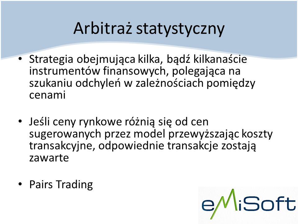 Arbitraż statystyczny Strategia obejmująca kilka, bądź kilkanaście instrumentów finansowych, polegająca na szukaniu odchyleń w zależnościach pomiędzy