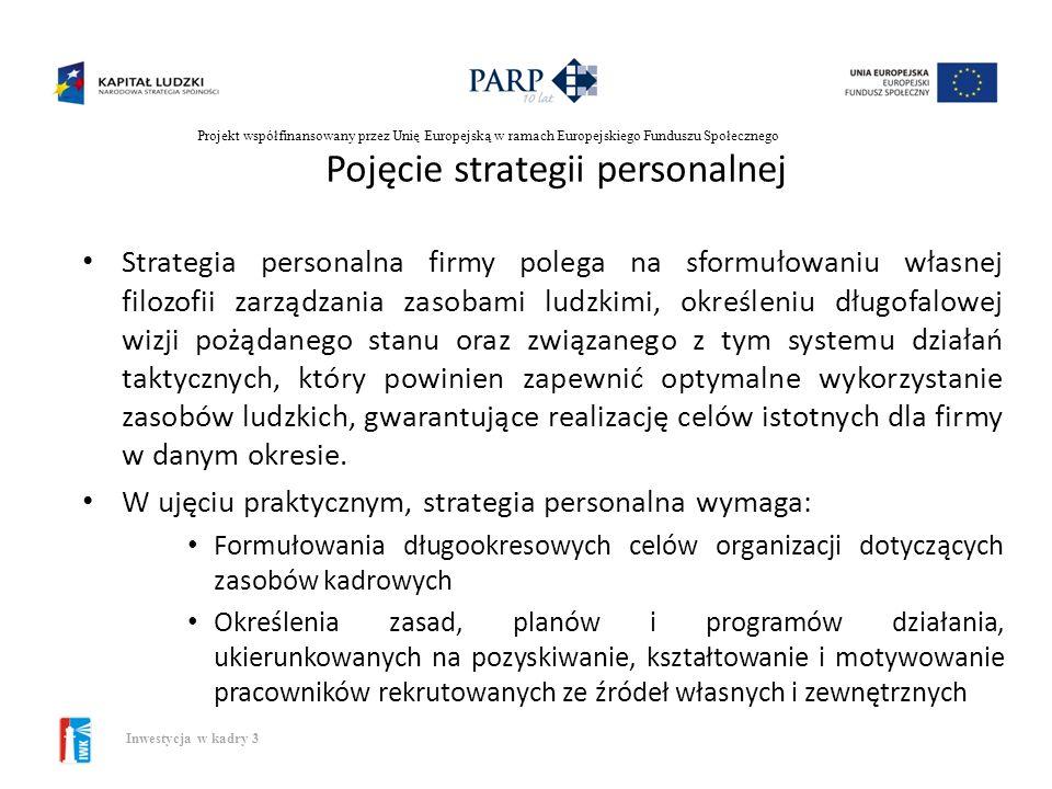 Projekt współfinansowany przez Unię Europejską w ramach Europejskiego Funduszu Społecznego Inwestycja w kadry 3 Podejścia do formułowania strategii Po