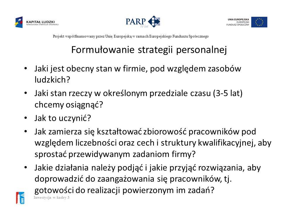 Projekt współfinansowany przez Unię Europejską w ramach Europejskiego Funduszu Społecznego Inwestycja w kadry 3 Pojęcie strategii personalnej Strategi