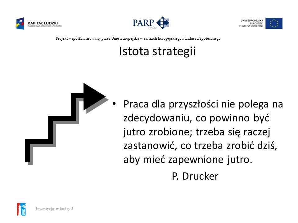 Projekt współfinansowany przez Unię Europejską w ramach Europejskiego Funduszu Społecznego Inwestycja w kadry 3 Pojęcie strategii A.D.Chandler: Strate