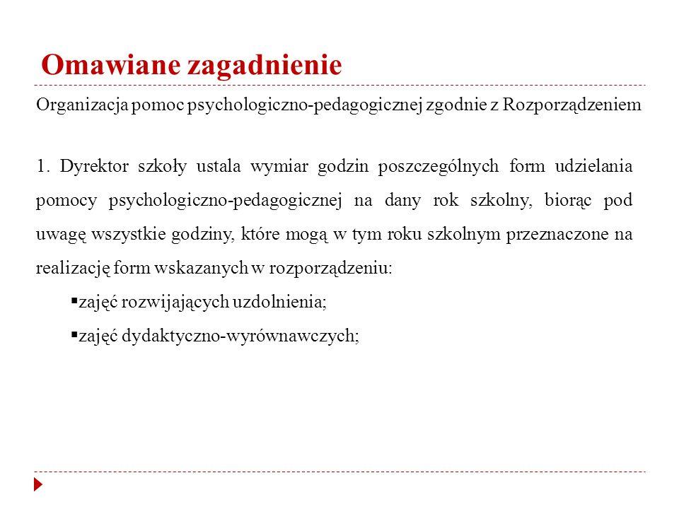Omawiane zagadnienie Organizacja pomoc psychologiczno-pedagogicznej zgodnie z Rozporządzeniem 1.