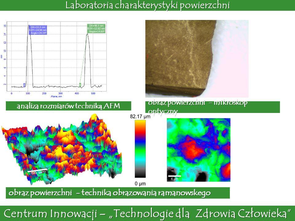 Centrum Innowacji – Technologie dla Zdrowia Człowieka Laboratoria charakterystyki powierzchni analiza rozmiarów technik ą AFM obraz powierzchni - mikr
