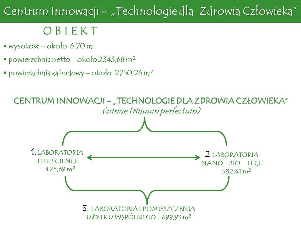 wysoko ść – około 6.70 m powierzchnia netto – około 2343,68 m 2 powierzchnia zabudowy – około 2750,26 m 2 O B I E K T 1. LABORATORIA LIFE SCIENCE - 42