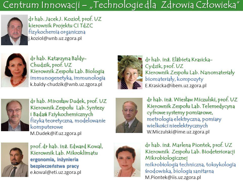 dr hab. Jacek J. Kozioł, prof. UZ kierownik Projektu CI TdZC fizykochemia organiczna j.koziol@wnb.uz.zgora.pl dr hab. Katarzyna Baldy- Chudzik, prof.