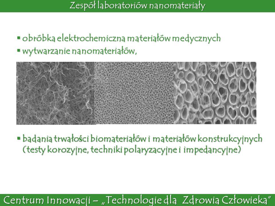 Centrum Innowacji – Technologie dla Zdrowia Człowieka Laboratoria charakterystyki powierzchni analizator rozmiaru nanocz ą stek 10 – 1000 nm nanocz ą stki zlota o rozmiarach ok.