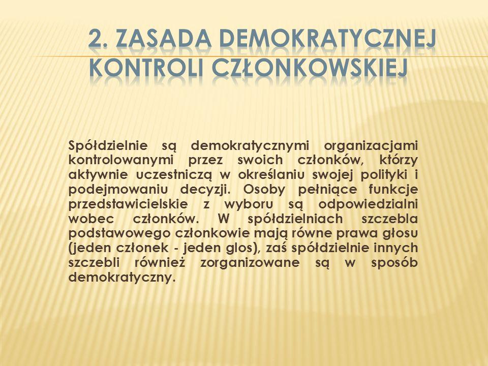 Członkowie uczestniczą w sposób sprawiedliwy w tworzeniu kapitału swojej spółdzielni i demokratycznie go kontrolują.