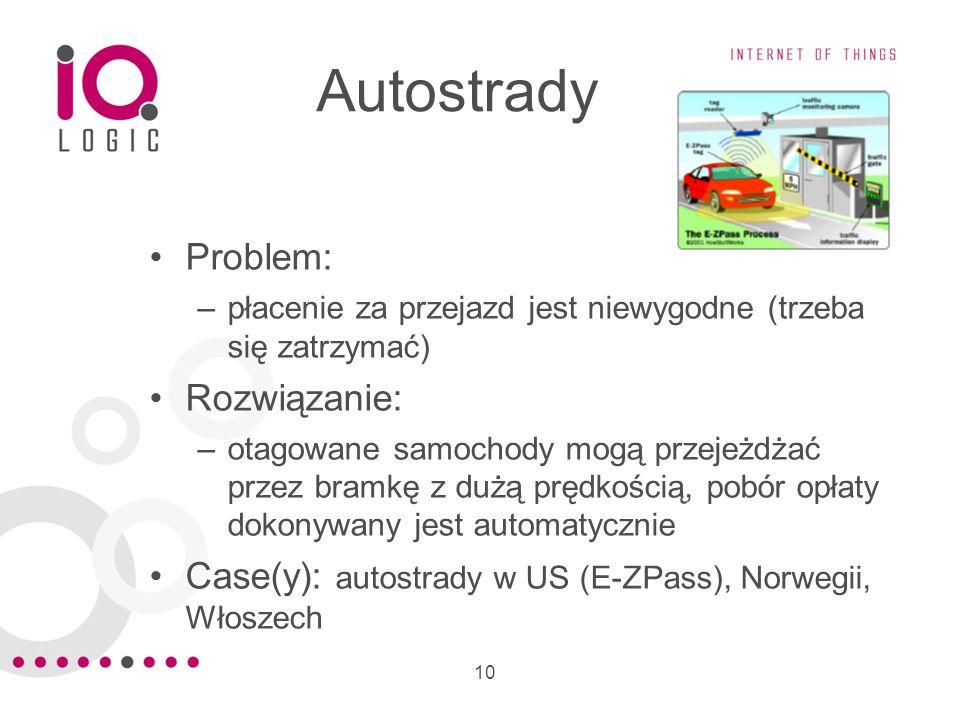 10 Autostrady Problem: –płacenie za przejazd jest niewygodne (trzeba się zatrzymać) Rozwiązanie: –otagowane samochody mogą przejeżdżać przez bramkę z