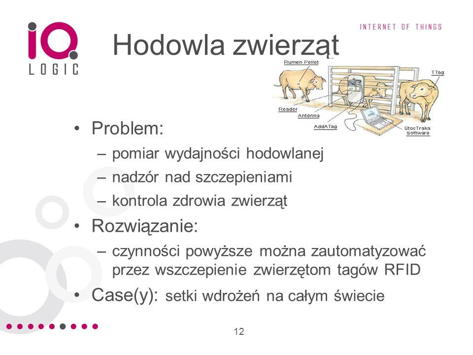 12 Hodowla zwierząt Problem: –pomiar wydajności hodowlanej –nadzór nad szczepieniami –kontrola zdrowia zwierząt Rozwiązanie: –czynności powyższe można