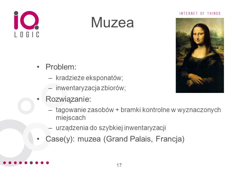 17 Muzea Problem: –kradzieże eksponatów; –inwentaryzacja zbiorów; Rozwiązanie: –tagowanie zasobów + bramki kontrolne w wyznaczonych miejscach –urządze