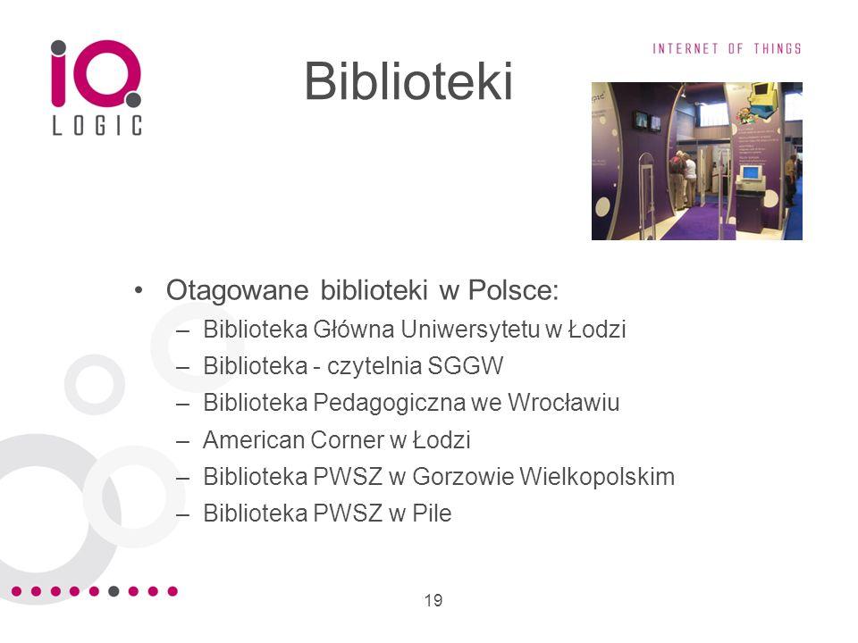 19 Biblioteki Otagowane biblioteki w Polsce: –Biblioteka Główna Uniwersytetu w Łodzi –Biblioteka - czytelnia SGGW –Biblioteka Pedagogiczna we Wrocławi